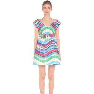 REDValentino Rainbow Wave Print Faille Dress NWT